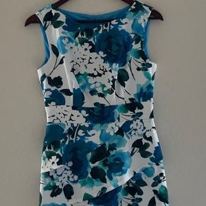 DRESS BARN Blue & White Floral Patterned Dress